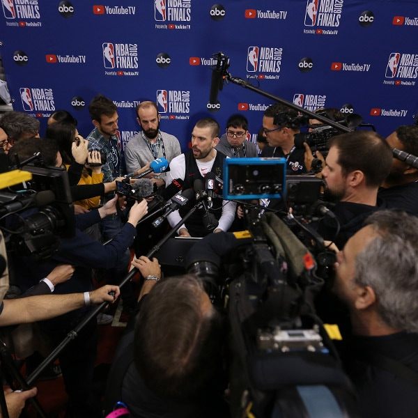 Toronto Raptors center Marc Gasol #33 takes questions prior to Game One of the 2019 NBA Finals