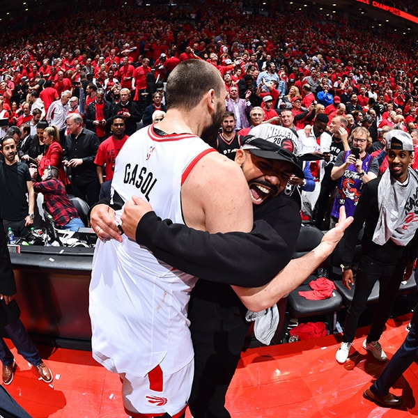 Marc Gasol and rapper, Drake, celebrate after Game Six of the Eastern Conference Finals