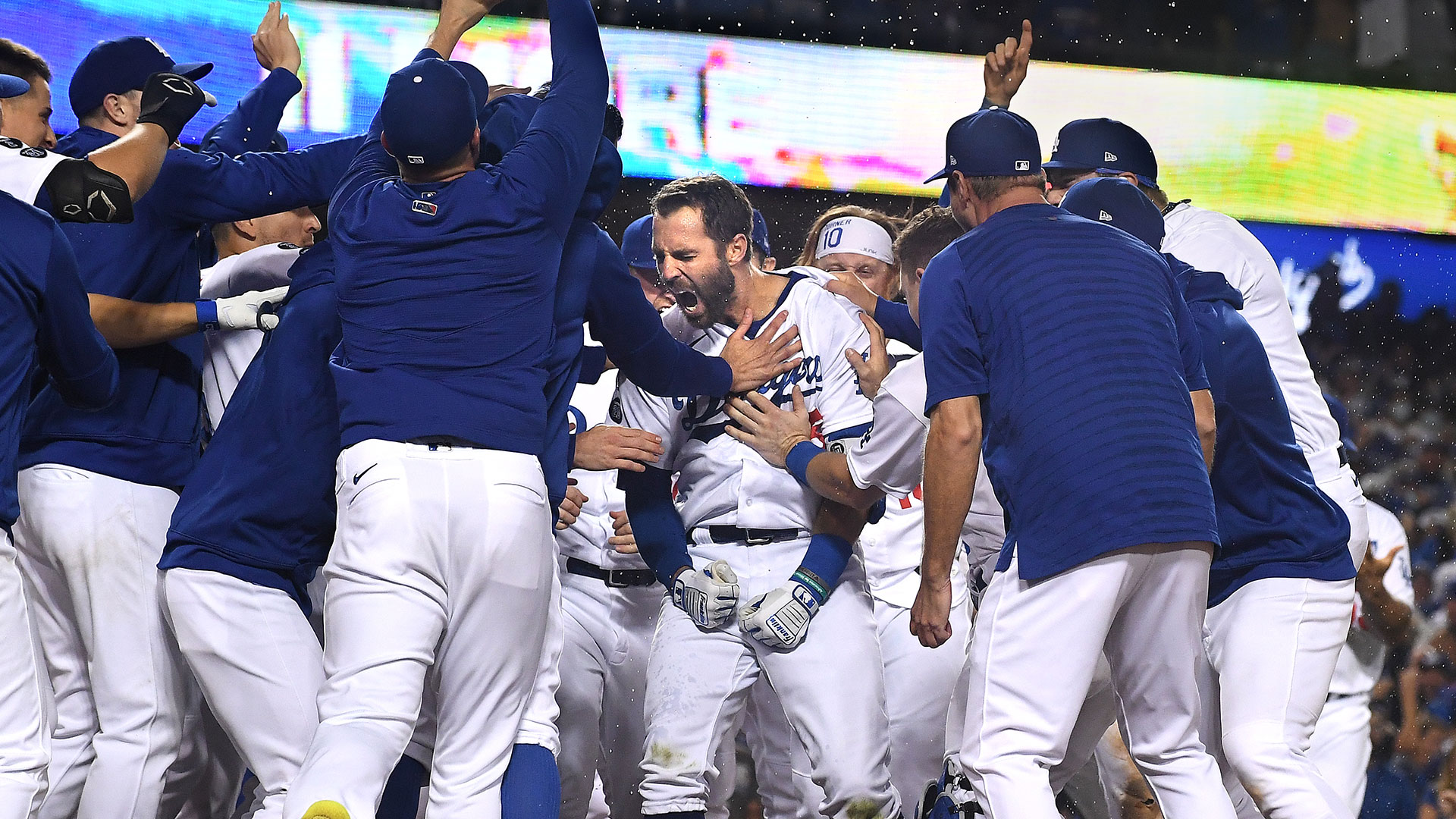 Los Angeles Dodgers celebrates after the game-winning two-run home run by Chris Taylor